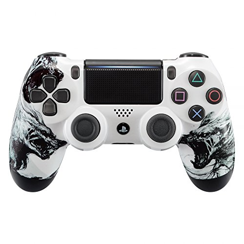 eXtremeRate Playstation 4 Controller Gehäuse Schutzhülle Obere Case Hülle Cover Oberschale Skin Housing Kit Schale Shell für Playstation 4 PS4 Controller JDM-040 JDM-050 JDM-055(Wolf) - Playstation Gehäuse 4