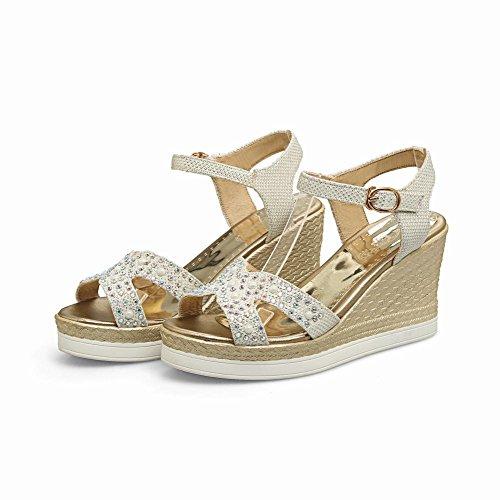 Mee Shoes Damen Keilabsatz open toe Schnalle Sandalen Silber