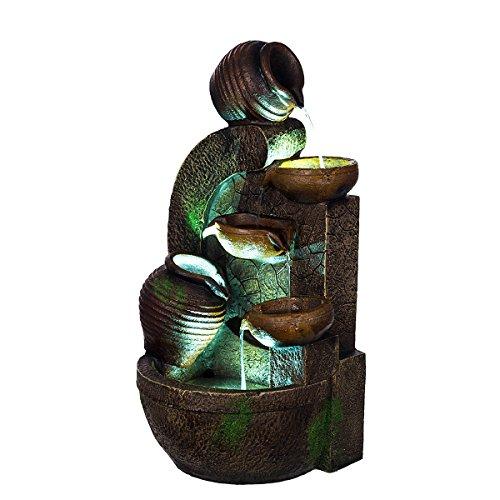 Bella Catalina XL Brunnen Wasserkrüge Steinmauer,mit 3 LED Leuchten,G53-17088, (Brunnen5), LED Lampen, Dekobrunnen, Springbrunnen, Wasserspiele Vogelbad Elektrischer Pumpe, 61 cm, Deko,