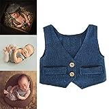 Bambino Foto Puntelli Neonato Fotografia Props Prima infanzia Abbigliamento 0-2 mese Tuta Vest (Blu navy)