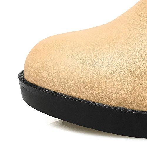 Cuir Correct Bottes Talon VogueZone009 Rond Boucle Jaune Femme Couleurs à Pu Mélangées H7ccq1vE