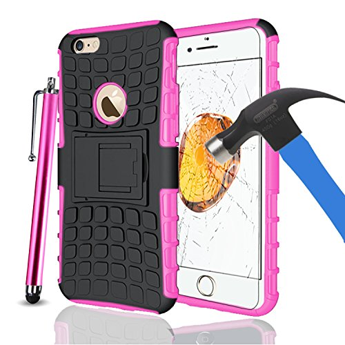 Apple iPhone 7Plus, Armor Case Tough Rugged Shock proof Armorbox Dual Layer Heavy Duty Carrying Hybrid Hard Slim Protective Case For iPhone 7 (with Kickstand) + Big Touch Pen + Tempered Glass-Pink Pink