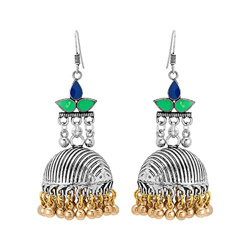 Voylla Jhumki Earrings for Women (Green)(8907617457468)