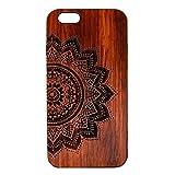 Tping Echt Holz Schutzhülle für iphone 6 / 6S, Hölzerne PC Hardcase mit Gravur Muster Design Kreativ Etui Handyhülle für Apple iPhone 6 / 6s 4,7 Zoll Handyschale (Mandala Blume)