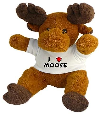 Plush Reindeer (Rudolf) with I love Moose t-shirt