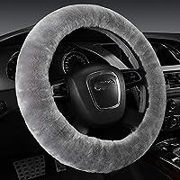 غطاء عجلة قيادة السيارة من الصوف الناعم المزغب الطبيعي سيارة من جلد الغنم مانعة للانزلاق واقي وسادة عالمي مناسب لـ 15 بوصة