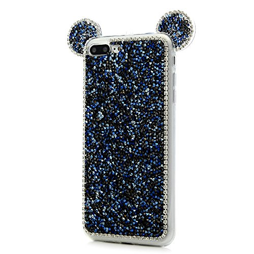 iPhone 7 Plus Cover Silicone 3D Strass Bling Glitter Brillanti, iPhone 8 Plus Custodia Morbida TPU Flessibile Gomma - MAXFE.CO Case Ultra Sottile Cassa Protettiva per iPhone 7 Plus / iPhone 8 Plus - R Blu