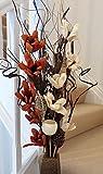 Arreglo floral exótico de flores orgánicas artificiales y secas hechas a mano Con jarrón de madera Altura de 85cm