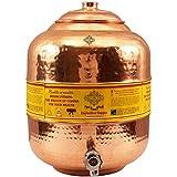Indian Art Villa Hammered Copper Water Dispenser Stoarge Pot Matka, Kitchenware, Ayurveda Yoga, 16 Ltr