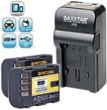Baxxtar RAZER 600 II Ladegerät 5 in 1 + 2x Patona Akku für Panasonic DMW BLF19 E (1860mAh) Für -- Für Panasonic Lumix DMC GH3 GH4 -- NEUHEIT mit Micro-USB Eingang und USB-Ausgang, zum gleichzeitigen Laden eines Drittgerätes (GoPro, iPhone, Tablet, Smartphone..usw.) !!