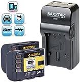 Baxxtar RAZER 600 II Ladegerät 5 in 1 + 2x Patona Akku für Panasonic DMW BLF19 E (1860mAh) Für -- Für Panasonic Lumix DMC GH3 GH4 GH4R -- NEUHEIT mit Micro-USB Eingang und USB-Ausgang, zum gleichzeitigen Laden eines Drittgerätes (GoPro, iPhone, Tablet, Smartphone..usw.) !!