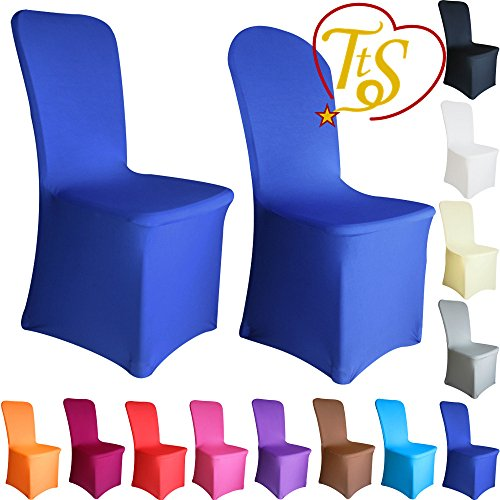 TtS Chair Covers Spandex Lycra Universal Slipcovers Dining Chair Cover Wedding Banquet Party Flat Front - Royal Blue