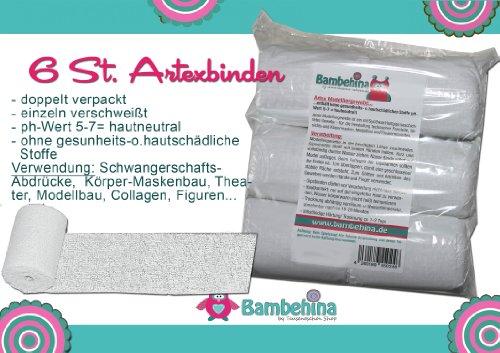 Gipsbinden Bambehina, 6 Stück, Artexbinden, a 8cm x 300 cm, Deutsches Produkt, für Körperabformungen, Theaterrequistite, Modellbau