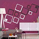 BEST DECOR 12 Black And White Square(Pack Of 12)Acrylic Sticker, 3D Acrylic Sticker, 3D Mirror, 3D Acrylic Wall Sticker, 3D Acrylic Stickers For Wall, 3D Acrylic Mirror Stickers For Living Room, Bedroom, Kids Room, 3D Acrylic Mural For Home & Offices