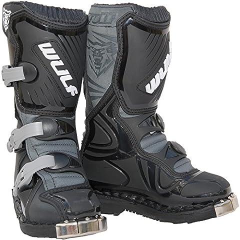 Wulf Cub LA Junior Motocross Boots 36 Black (UK 3.5)