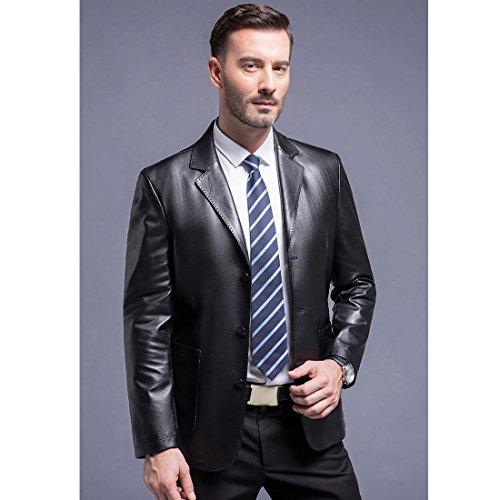 YYF Herrenmantel Langarm Lederimitatjacke Cabanjacke Reverskragen Trenchcoat Mantel Kurzmantel Einreihig Jack Anzug Schwarz