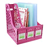 Liying® Sturdy Three Sections Magazine Holder File Rack Storage dispay for Lever Arch Polypropylene Desktop Shelf File Dividers Cabinet Document Tray Holder Organiser Box (Pink)