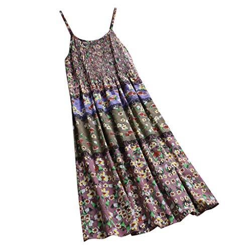 Dress Eckigem Ausschnitt Blumenmuster Strandkleid Elegant Camisole-Kleid Freizeitkleid GroßE GrößE Maxikleider ÄRmellos Swing-Kleid Lockerer Rock Kleider Rosa ()