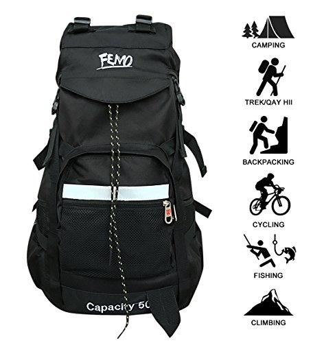 Kunpron Herren großer Rucksack, für den Außenbereich, wasserdicht, leicht, Trekking Rucksacks für Camping, Wandern und Klettern Bergsteiger, Schwarz, Rucksack mit Laptopfach