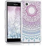 kwmobile Funda para Sony Xperia Z1 Compact - Case para móvil en TPU silicona - Cover trasero Diseño sol indio en azul rosa fucsia transparente