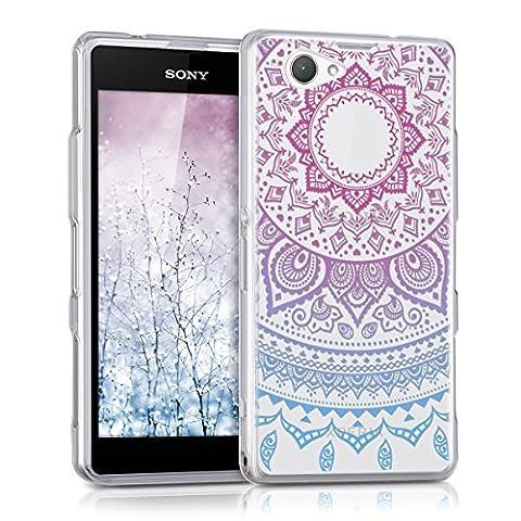kwmobile Hülle für Sony Xperia Z1 Compact - TPU Silikon Backcover Case Handy Schutzhülle - Cover klar Indische Sonne Design Blau Pink (Compact Z1)