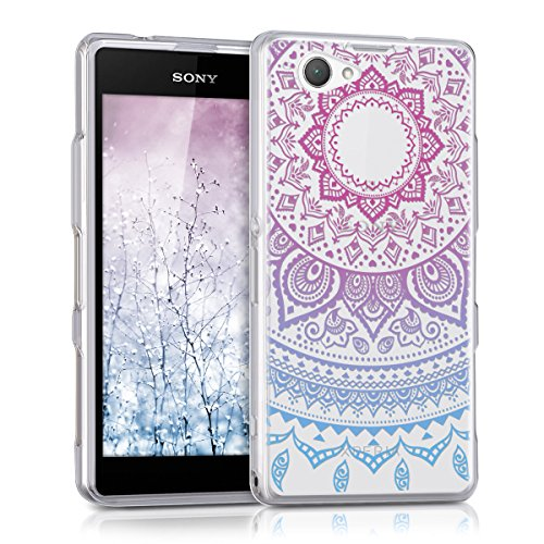 kwmobile Crystal Case Hülle für > Sony Xperia Z1 Compact < aus TPU Silikon mit Indische Sonne Design - Schutzhülle Cover für Handy und Smartphone klar in Blau Pink Transparent