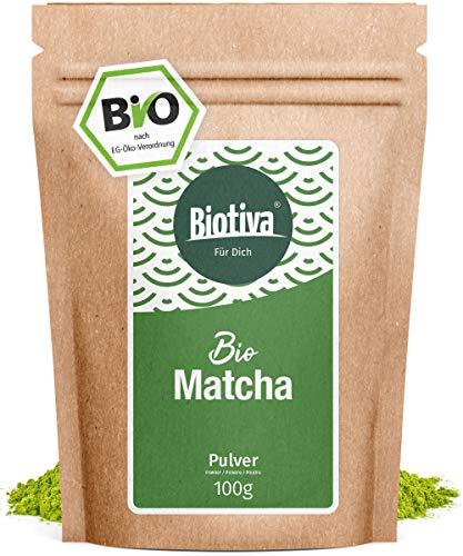 Matcha organique (100 g) - prix de lancement - thé, café au lait, smoothies - Bio-Matcha - 100% agriculture durable - en bouteille et contrôlée en Allemagne (DE-ÖKO-005)