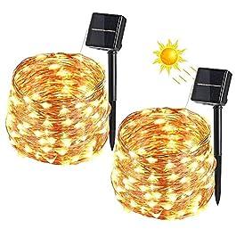 [2 Pezzi] Catena Luminosa Solare, BrizLabs 12m 120 LED Stringa Luci Solari Impermeabile Luci Decorative da Interni e…