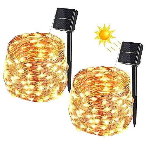 Solar Lichterkette Aussen, VegaHone 2 Pack 100 LED Außen Kupferdraht Lichterkette Wasserdicht 8 Modi Solarbetriebene Sternen Lichterkette Innen für Weihnachten Party Garten Hochzeit Deko, Warmweiß -