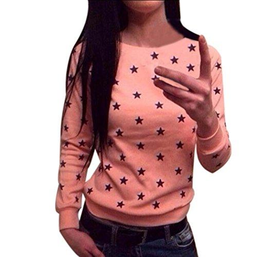 Sannysis Damen Langarm-Stern-Druck-Pullover Pullover Pullover Tops (L, Wassermelone) (Gedruckt Stricken Pullover)