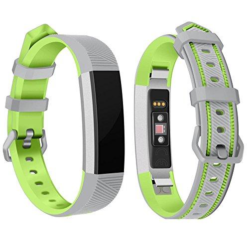 AUTOECHO Verstellbare Bänder für Fitbit Alta/Alta HR/Ace Smart Kinder Armband mit zweifarbigem weichem Silikon Ersatzarmband für Damen und Herren, Unisex, Grau/Grün, 215 * 12mm - 12mm Gummi Uhrenarmband