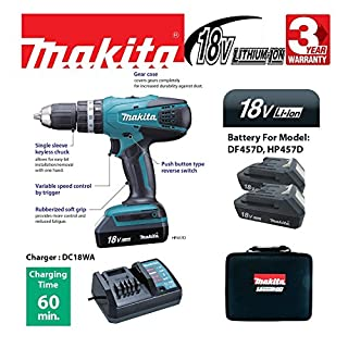 Makita 18v Li-Ion Cordless Combi Hammer Drill with 2 x BL1813G Batteries and 1 x DC18WA Charger In A Canvas Carry Case + A Fluke 1ACII Voltage Detector!