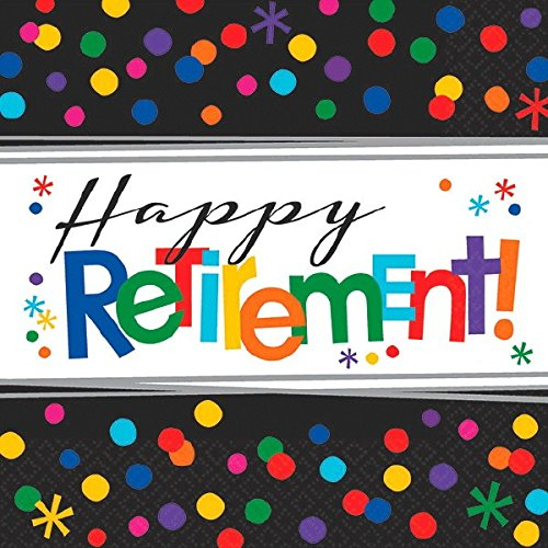 amscan 511552 Papierservietten 33 cm Happy Retirement