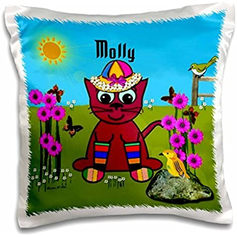 SmudgeArt Female Child Name Designs - Molly - Decorative SmudgeArt Art Design - Cat In Rainbow Socks - 16x16 inch Pillow Case