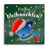 INWIEDU - Pilapets Feles mit Weihnachtskugel Wandbild mit Spruch: Frohe Weihnachten! - Wand Deko MDF Fototafel - Größe 150 x 150 x 15 mm