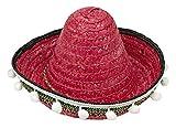 Mini Mexikaner Sombrero mit Troddeln - 25 cm Durchmesser Rot