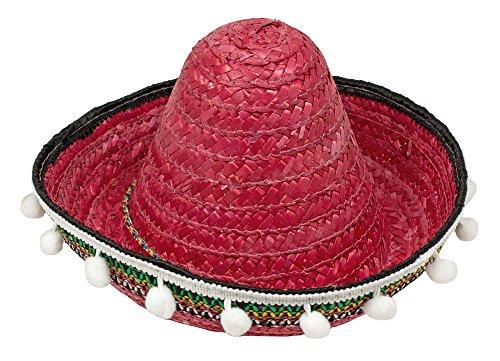 ero mit Troddeln - 25 cm Durchmesser Rot (Mini Sombrero Party Hüte)