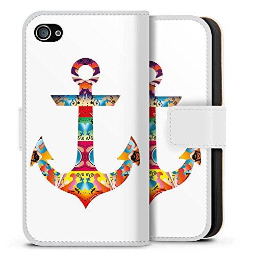 Apple iPhone X Silikon Hülle Case Schutzhülle Decorative Anchor Anker Muster Sideflip Tasche weiß