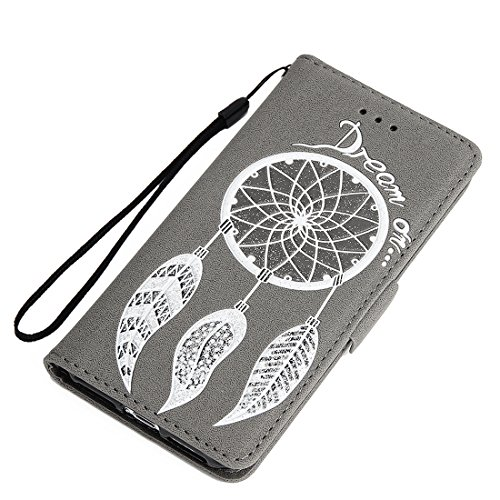 iPhone 5S/5/SE Flip Wallet Case, SOUNDMAE Wind Bell Pattern PU Leather Flip Wallet Cover Shockproof Full Body Protector with Card Slot, Cash Pocket Wallet for iPhone 5S/5/SE (Blue) Gray
