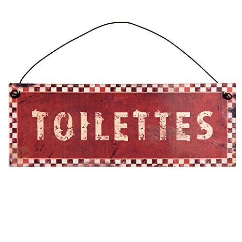 Clayre & Eef 6Y2489 Dekoschild Textschild Schild TOILETTES rot 20 x 8 cm (8 Toilette)