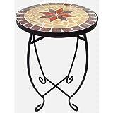Tavolo da giardino mosaicato, sgabello per fiori rotondo da balcone per ambienti esterni con portafiori in metallo