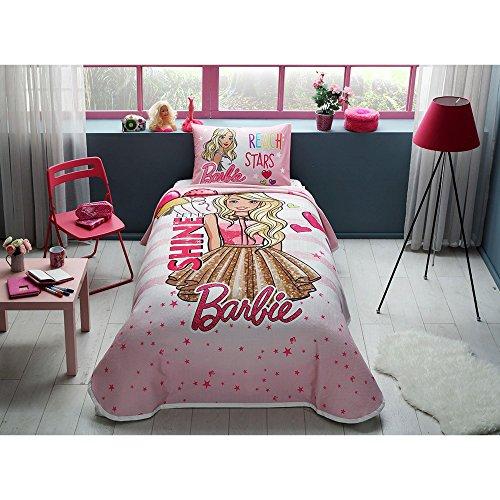 TAC 3-teiliges Barbie Glanz Lizenzprodukt Cartoons Tagesdecke Decke (Pique) Set, 100% reine Baumwolle Luxus, Kinder Einzelbett Teenager Größe