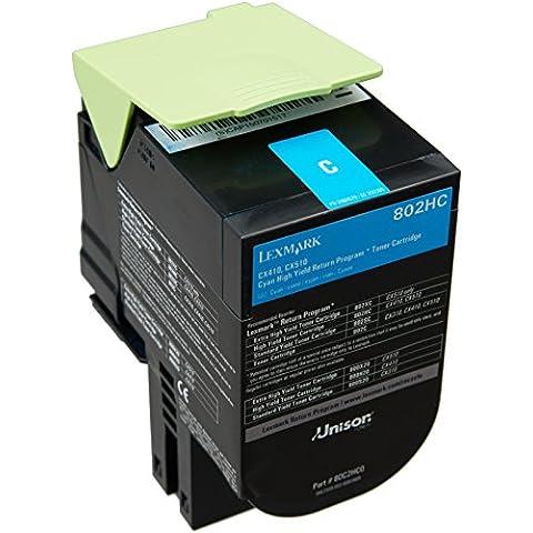 Lexmark 80C2HC0 - Tóner, capacidad 3000 páginas, color cian