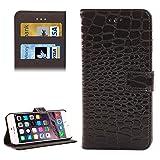 Handy-Hüllen & Hüllen, Krokodil Textur Leder Tasche mit Halter und Kartensteckplätze für iPhone 6 & 6S ( Farbe : Schwarz )