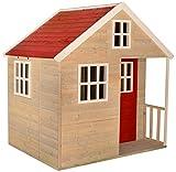 Kinder Holzhäuser Nordische Villa für draußen | Kinder Sommerhaus Gartenhaus Haus geschlossener Typ L Größe Spielhaus mit voller Tür, Fenster, Plexiglasfenster, Spielzeugregal, Giebelfenster