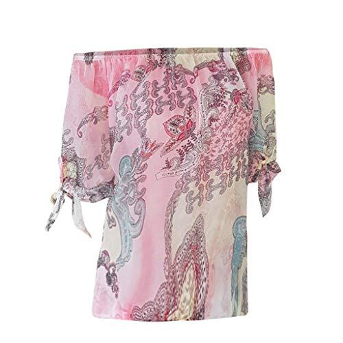 T-Shirt Femme Manche Courte Eté Col V Imprimé Floral Hauts Blouse Chic Chemise Grande Taille Décontractée Tee-Shirt Axong