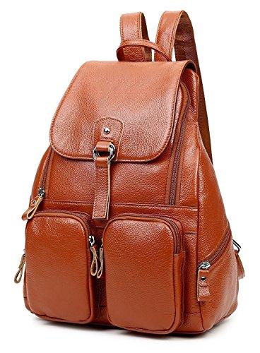 Greeniris Damen Klassisch Echtes Leder Rucksack Damen Vintage Schulrucksack für Damen/Mädchen Braun