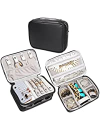 Teamoy Jewellery Organiser, Travel Jewellery Case for Necklace, Bracelet, Earrings, Rings and more, Double Layer, Waterproof Fabric, Various Departments -- NO Accessories Included, (Medium, Black)