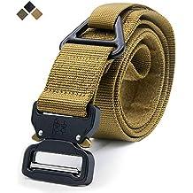 Cinturón táctico, estilo militar Correa ajustable de nylon para web Cinturón resistente de los aparejos con hebilla de metal de liberación rápida y anillo ...