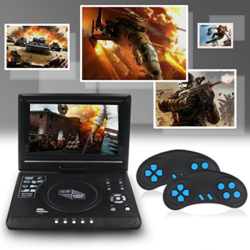Upgraded 10 Zoll Tragbarer DVD-Player, Directtyteam Portabler DVD-Player Portable DVD Player CD Player, Swivel Angle Adjustable Display Screen, with Rechargeable Battery, Unterstützt SD-Karte und USB (Schwarz) - 4